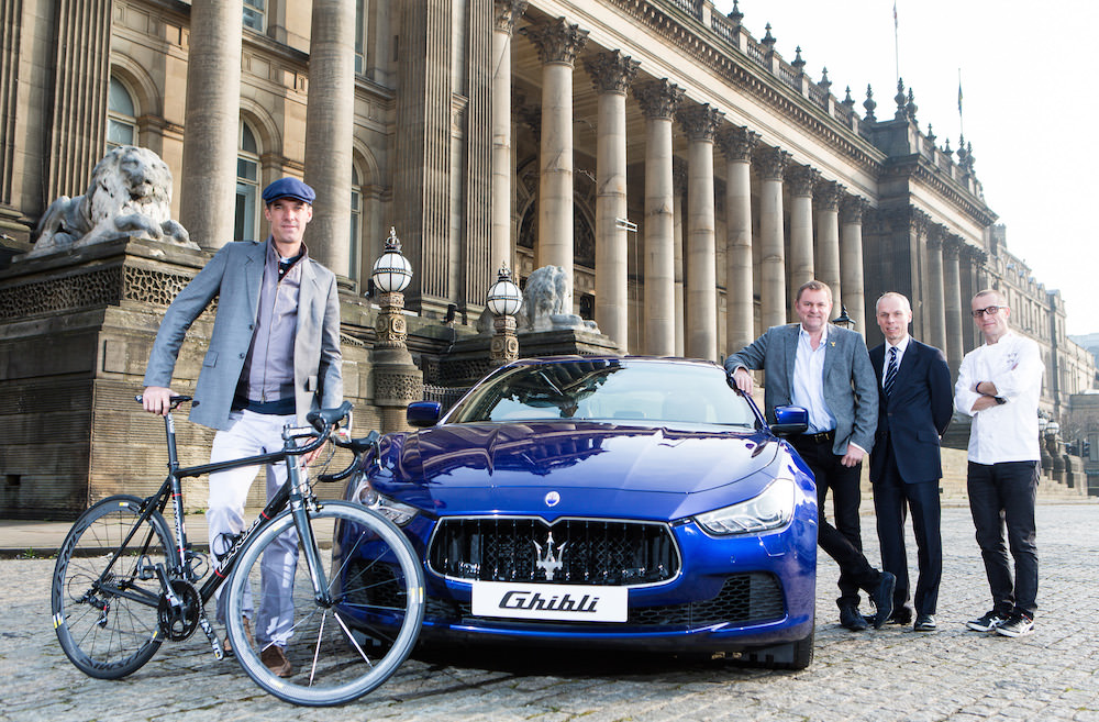 Picture by Alex Whitehead/SWpix.com - 17/03/2015 - Cycling - Maserati Cycling Launch - Leeds Town Hall, Leeds, England - (Left to Right) Former pro-cyclist and Maserati GB brand ambassador David Millar, Welcome to Yorkshire Chief Executive Gary Verity, Region Manager Maserati North Europe Peter Denton and Michelin-starred Chef Alan Murchison pictured with a Maserati Ghibli to launch Maserati Cycling and announce Maserati as the title sponsor of the Tour de Yorkshire Ride.