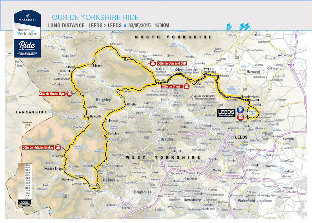 Tour de Yorkshire 140km route